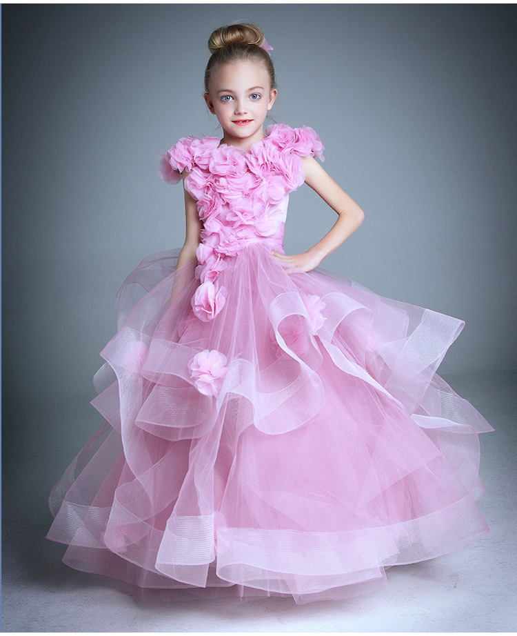 Children Gowns For Wedding: Custom Kids Infant Girls Flower Petals Dress Children