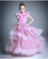 Custom Kids Infant Girls Flower Petals Dress Children Bridesmaid Toddler Elegant Dress Wedding Bridal Tulle Formal Party Dress