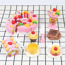 75 Pcs Pink Blue Birthday Toys Cut Cake Fruit Cream Candles Classic Kids Pretend Play Toys Plastic Set Christmas Birthday Gift diy simulation fruit cake birthday toys set 54pcs