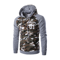 Hip Hop Hoodies Men Printed Double Pockets Camouflage Patchwork Sweatshirt Outwear Slim Male Camo Hooded Pullover