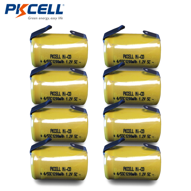 8 x 4/5 Sub C 1200mAh 1.2V 4/5 SC NiCd Rechargeable Ni Cd 4/5SC Battery Flat Top With Tabs PKCELL