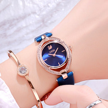 Luxury Fashion Lady Leather Quartz Watch Diamond Women Wrist Watch