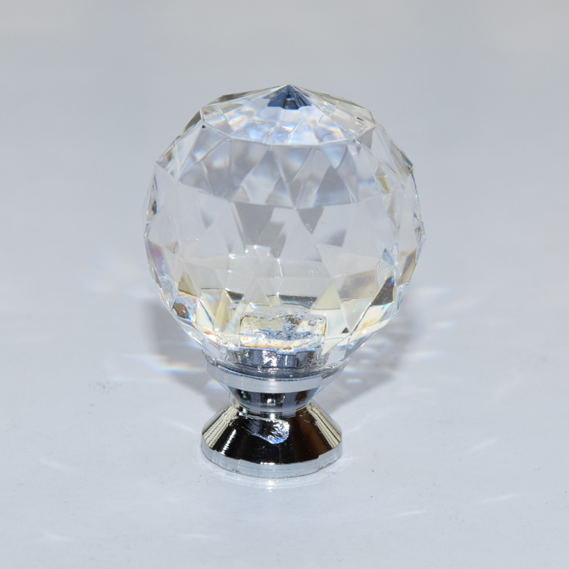 10pcs Free Shipping 30mm Zinc Alloy Clear Crystal Sparkle Glass Kitchen Cabinet Knobs Handles Dresser Cupboard
