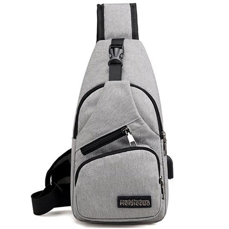 Men Messenger Bags Chest Bag Men Large Male Shoulder Bag USB Charging Cross Body Bags Chest Pack Canvas For Men