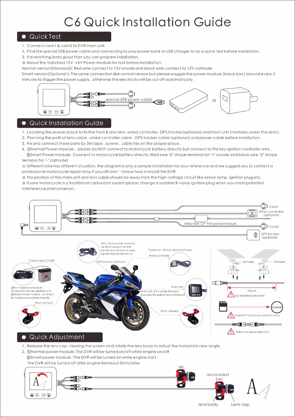 Mini Size Dual Lens Hd 720p C6 Wired Remote Control Motorcycle Dvr Diagram Controller And Gps Antenna Are Optional Device