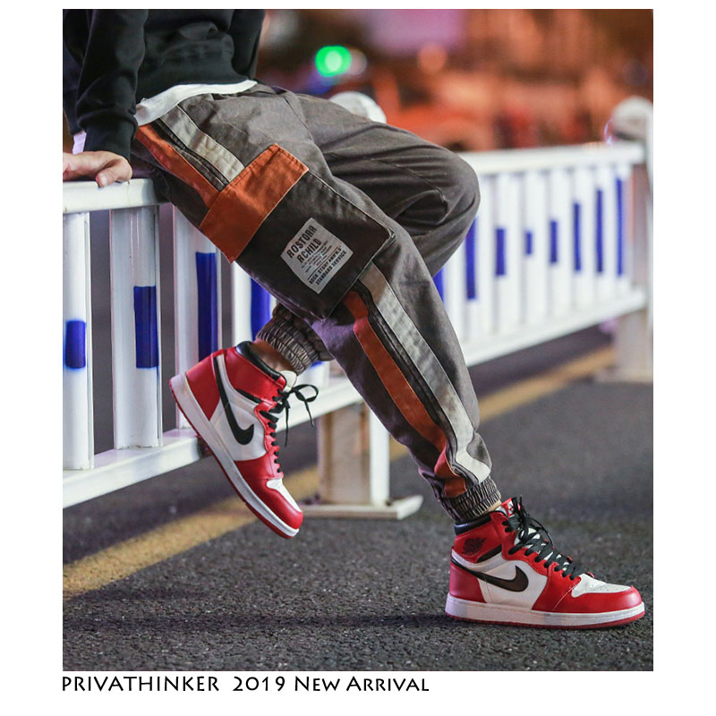 Privathinker 2019 Summer Cargo Pants Mens Patchwork Hip-hopTrousers Elasticity Pockets  Tatical Casual Streetwear Baggy Pants(China)
