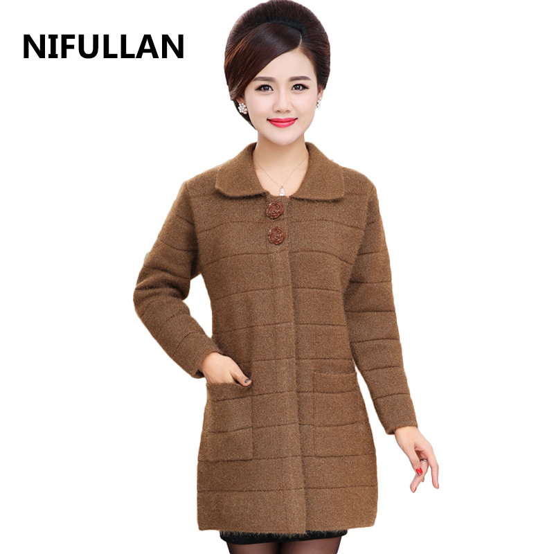 NIFULLAN Thick Knitted Cardigan Coat Fall Winter Mother Long Sweater Plus Size Double Pockets Outwear Long