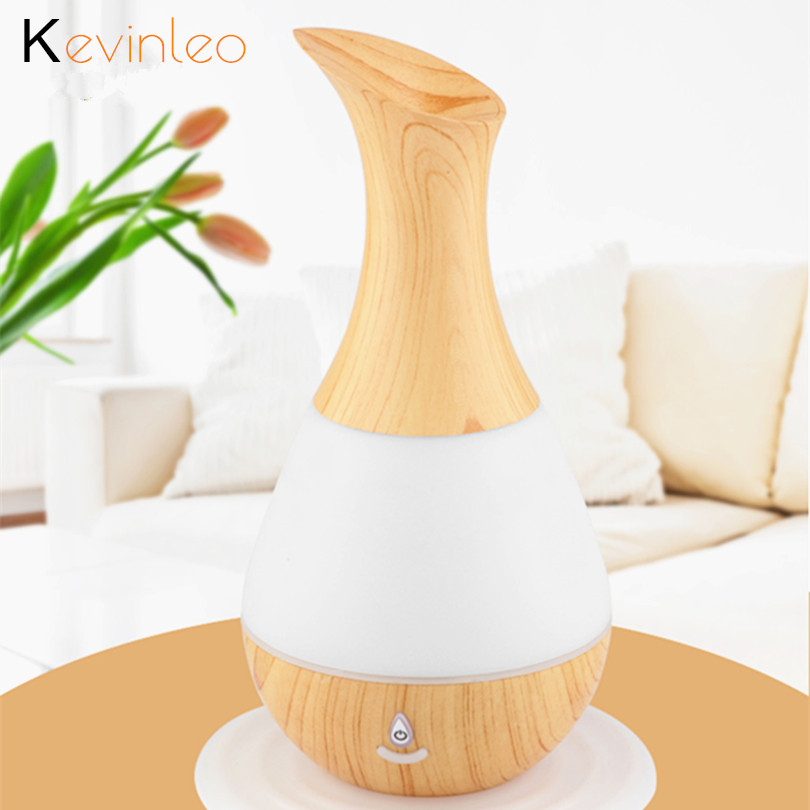 Aroma Essential Oil Diffuser Ultrasonic Air Humidifier with Wood Grain 7Color Changing LED Lights for Office Home