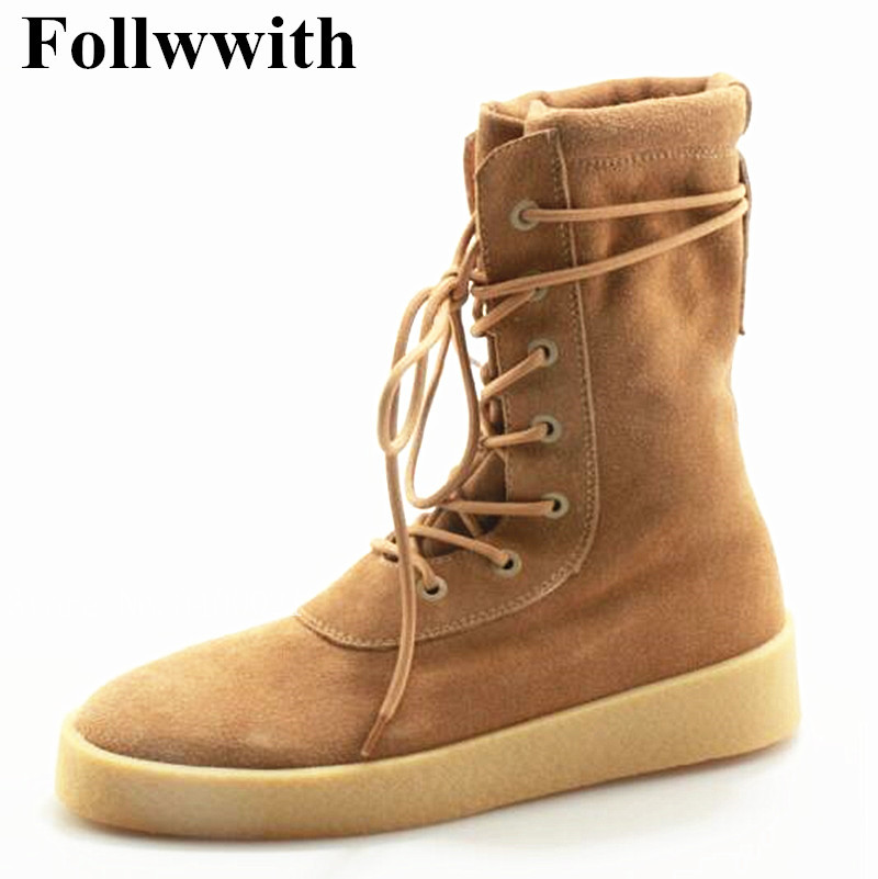 2018 Follwwith Brand Brown Suede Top Qulaity Flats Lace Up Men Ankle Boots High Top Trainers Winter Casual Shoes Mens Male 2015 qulaity mardrid 14 15 3 men