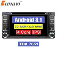 Eunavi 2 Din Android 8,1 автомобиль DVD gps для Toyota Hilux, Yaris Vios Camry Corolla Rav4 Prado 2003 2004 2005 2006 2007 2008 2G Оперативная память