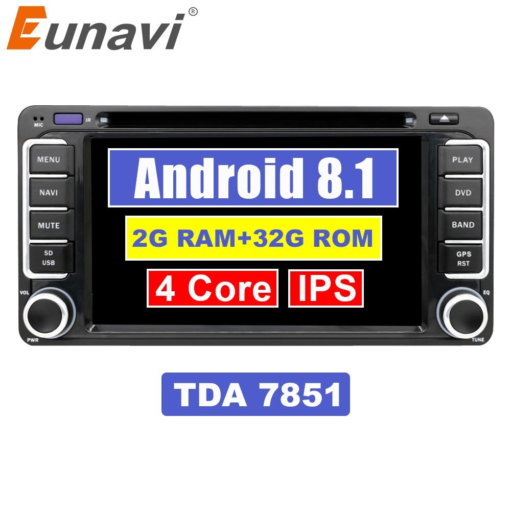 Eunavi 2 Din Android 8.1 Carro DVD GPS Para Toyota Camry Corolla Yaris Vios Hilux Prado Rav4 2003 2004 2005 2006 2007 2008 2G RAM