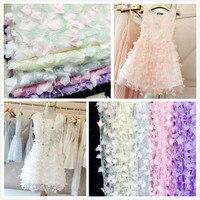10 Couleurs Net fil en trois dimensions broderie en mousseline de soie fleur dentelle tissu mesh matériel 130 cm diy robe vêtements accessoires