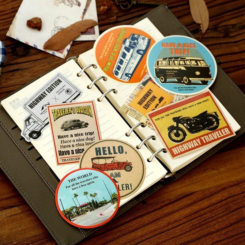 8-10 pcs/bag Vintage American journey paper sticker DIY decorative sticky album diary scrapbooking stationery school supplies