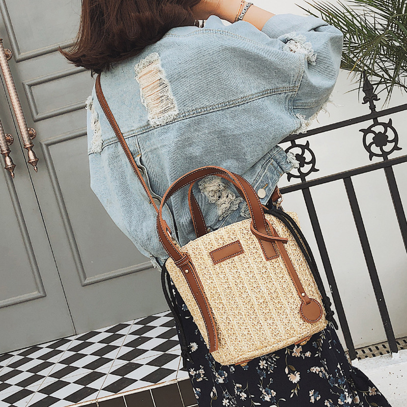 Women Braided bag shoulder bag straw womens bale canvas handbags mother bucket bag new 2018 pouch leisure holiday beach bags