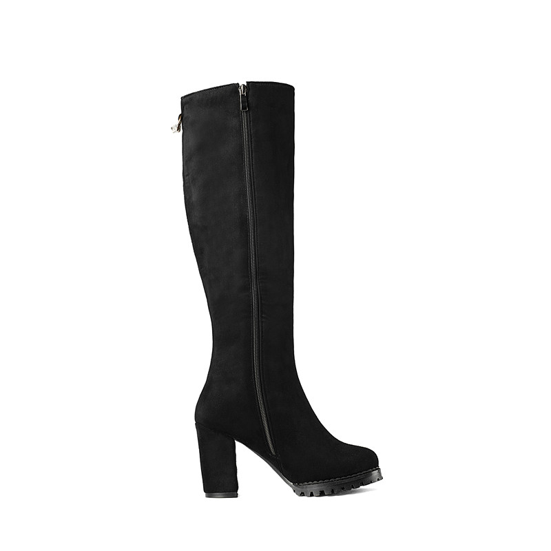 ENMAYER New Arrival women solid round toe square heel zip knee high boots lady high heel boots Big size 34 43 ZYL in Knee High Boots from Shoes