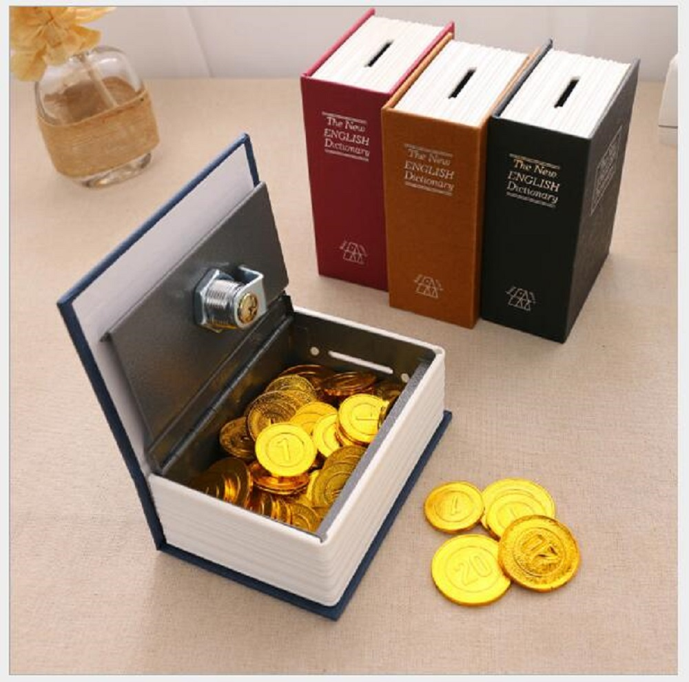 Dictionary Mini Safe Box Book Money Hide Secret Security Safe Lock Cash Money Coin Storage Jewellery Key Locker Kid Gift