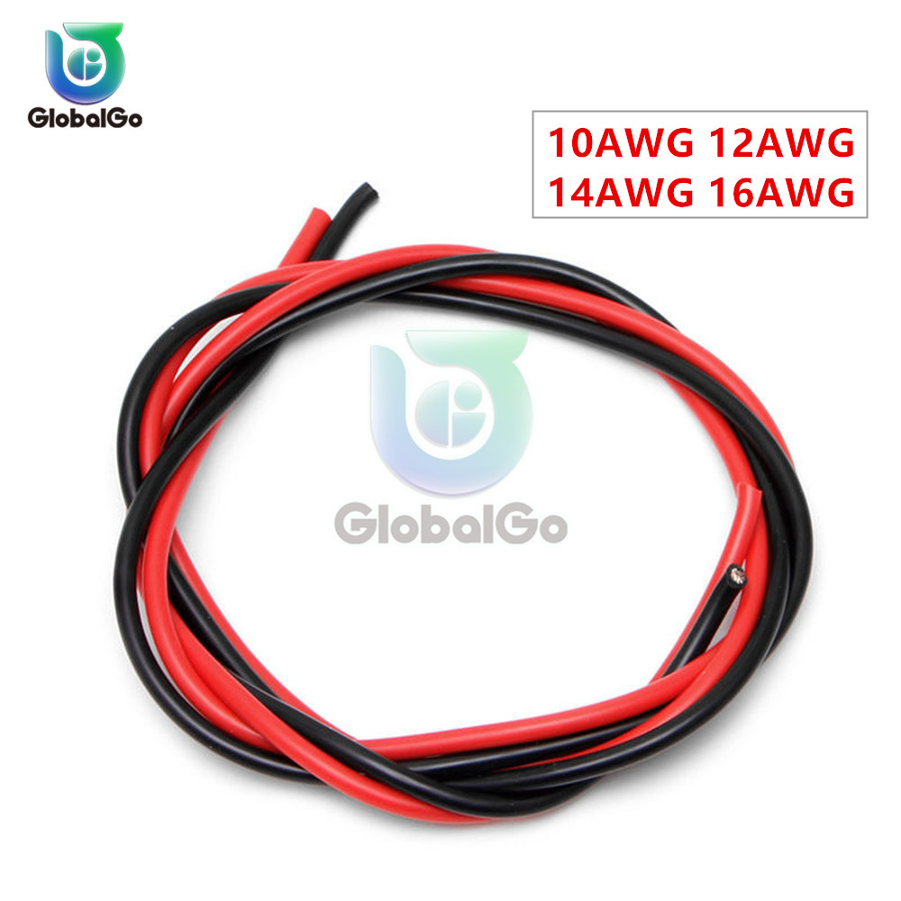 2pcs <font><b>10AWG</b></font> 12AWG 14AWG 16AWG <font><b>Silicon</b></font> <font><b>Wire</b></font> 2M Electrical Tinned Copper Heatproof Soft Silicone Gel <font><b>Wire</b></font> Stranded Cables image