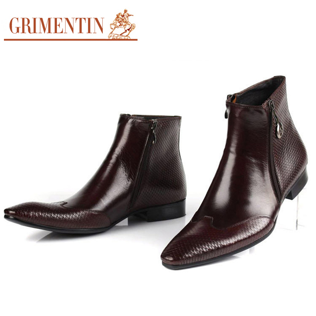 Italian Designer Mens Leather Boots Pointed Toe Zip Snake skin Black/Brown Luxury Business Men's Winter Shoes Size:38-44 Bo8
