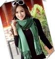 Comercio al por mayor 2015 Nueva Moda de Invierno Mujeres Bufanda del color Gradual dos Colores dobles Del Mantón Del Abrigo de Pashmina de la Cachemira Bufanda de La Borla