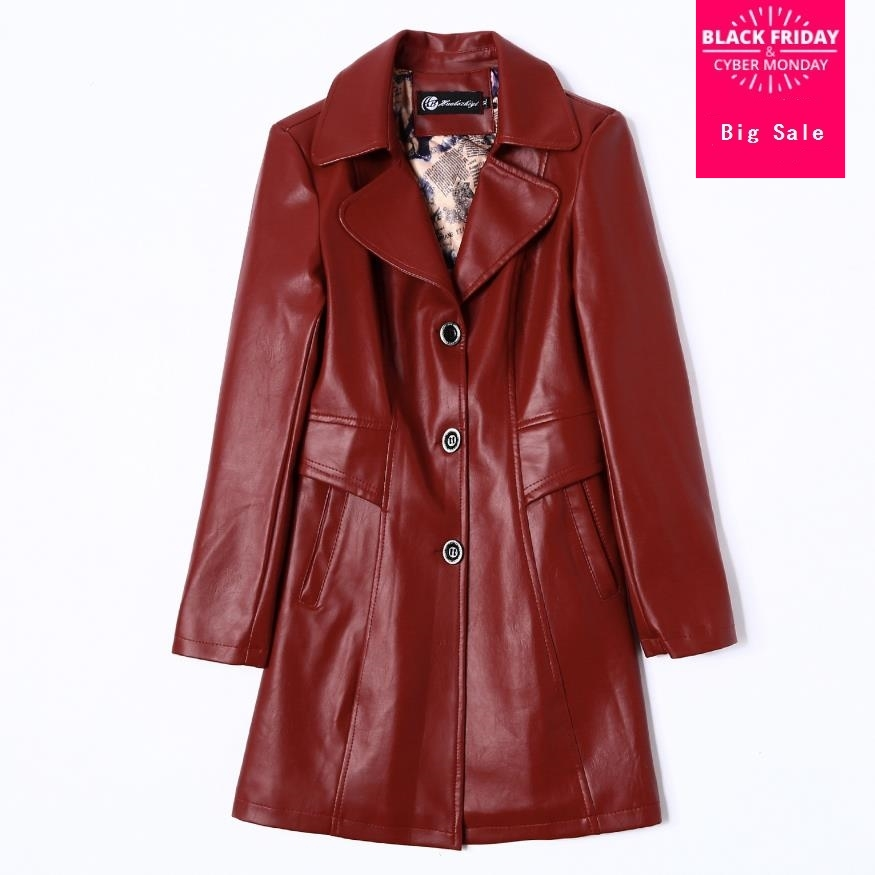 Autumn Fashion brand single brested   leather   jacket Women's great quality British style long   Leather   Jacket with belt wq382
