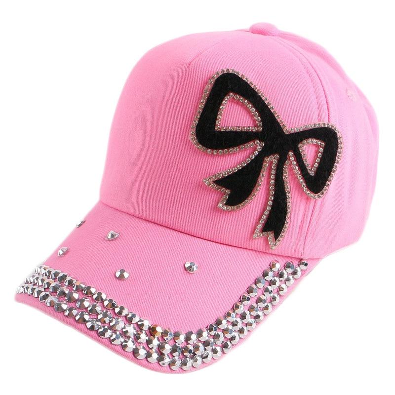 baseball mom bling caps boy girl child kids beauty font cap rhinestone hats