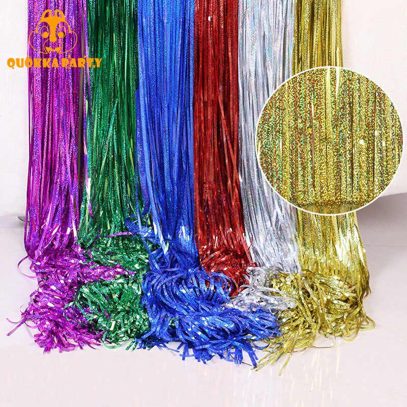 Telón de fondo para boda, cortinas de papel de aluminio con franja de oropel dorada, decoraciones para fiesta de cumpleaños, Fondo de lentejuelas, cortina con purpurina Swag