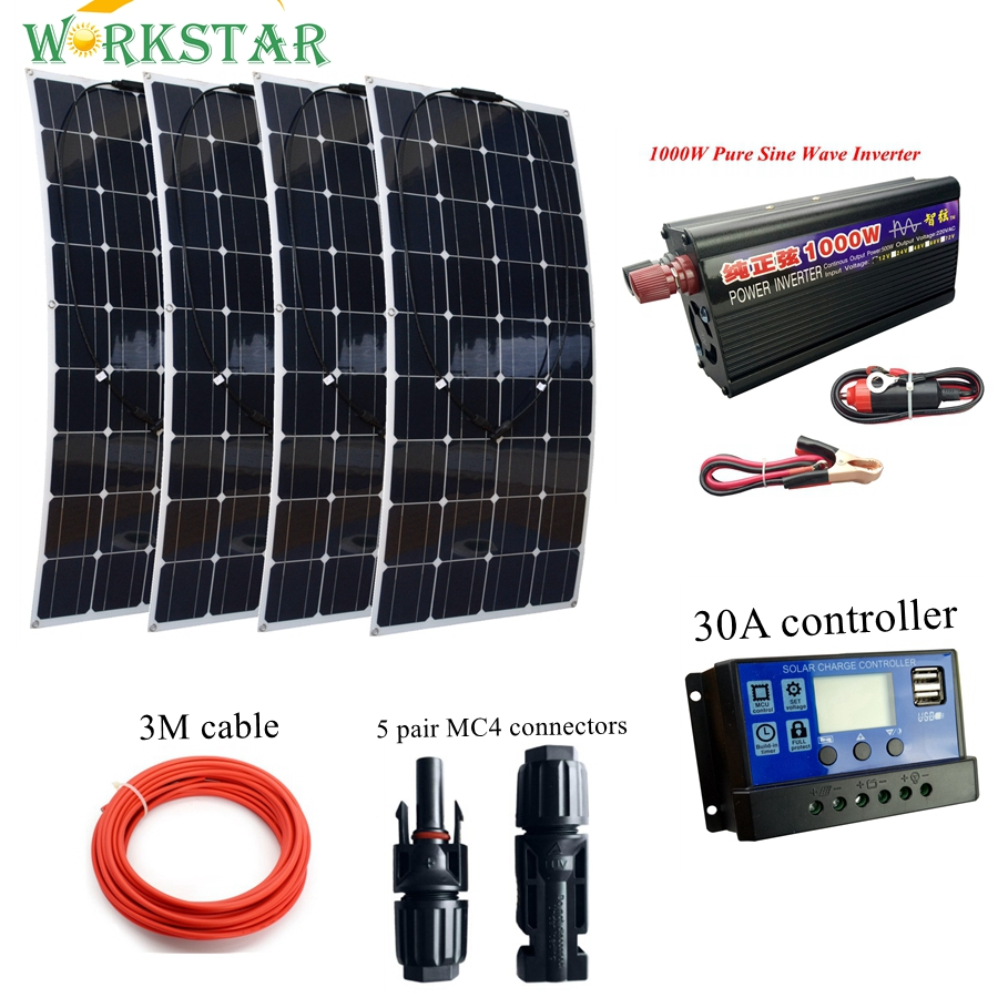 4 * 100W Flexible Solar Panel with 1000w Inverter and 30A Controller and MC4 Y-connectors Basic Solar System for Beginner 4pcs 100w flexible solar panel with mppt 30a controller and mc4 y connectors for 12v battery solar charger houseuse solar kit