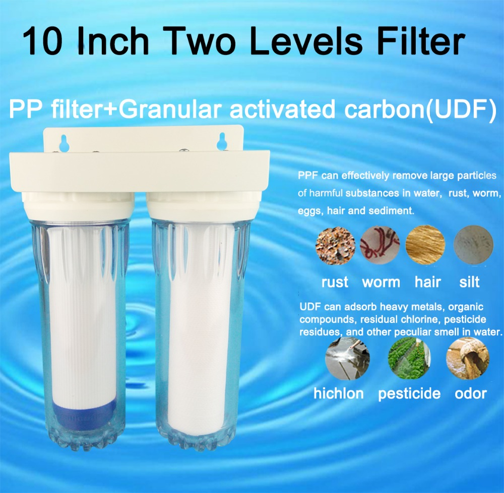 """Clear 10 inch Two Levers  water filter 1/4"""" fast connection water purifier 2 stages household pre-filter with PPF+UDF"""