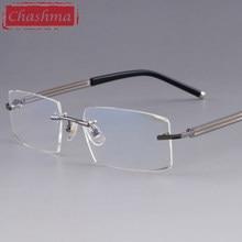 c2d22dba774 Chashma Designer Eyeglasses Diamond Male Rimless Alloy Glasses Frame  Transparent Stone Lenses Mens Prescription Spectacles