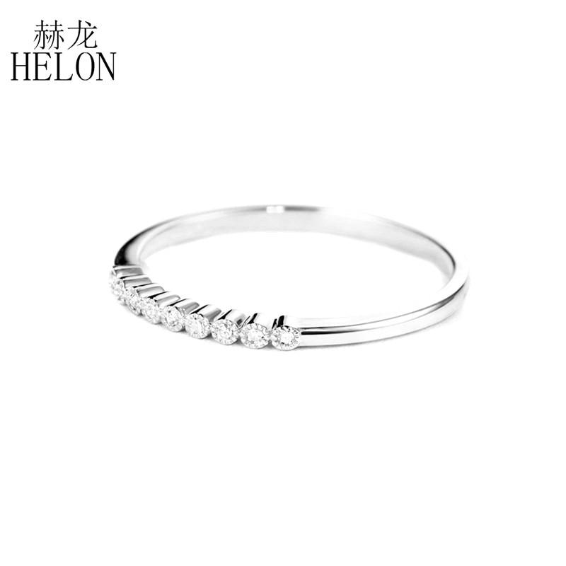 HELON moissanite pierścionek ze srebra próby 925 biżuteria VVS/kolor FG pozytywny Test moissanite diament pierścionek zaręczynowy obrączka kobiety w Pierścionki od Biżuteria i akcesoria na  Grupa 2