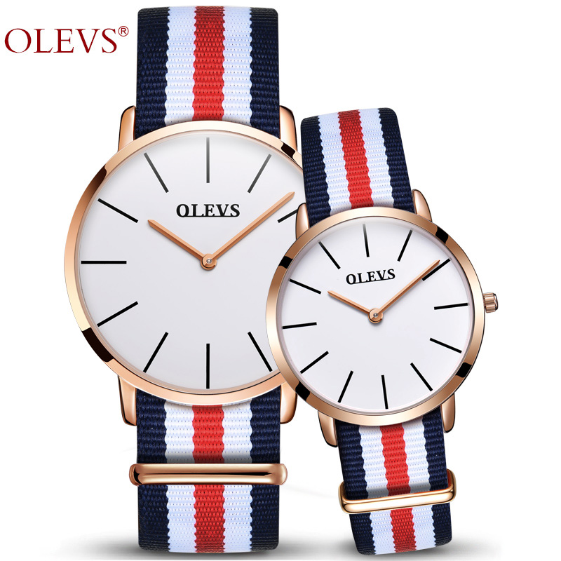 OLEVS Romantic Ultra Thin Quartz Watch For Lover Multicolor Nylon Stripe Band Couple Waterproof Wristwatches Men and Women Gift stylish multicolor stripe pattern bucket hat for women