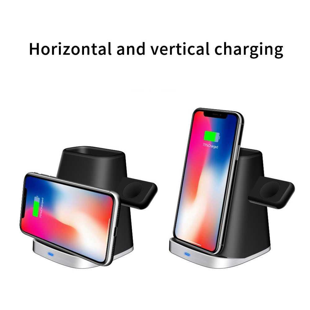 Cargador de teléfono inalámbrico magnético 3 en 1 para iPhone 11 Pro XR 8 carga rápida para Apple i Watch AirPods Dock Station soporte de teléfono