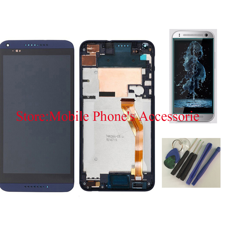 OEM 100% Test LCD Display Touch Screen Digitizer Glass+ Frame For HTC Desire 816 Blue With Free Tools + Tempered Glass