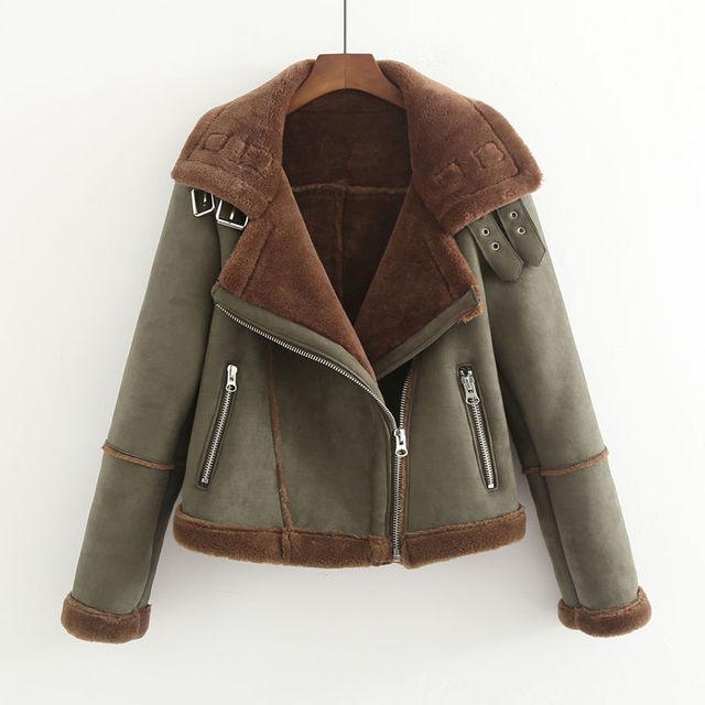 aec659f0c2b4a Plus Velvet Thick Suede Women Jackets Short Lambs Wool Warm Jacket Women  Winter Coats Motorcycle Jacket