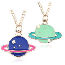 Fashion DIY Planet Pendant Colorful Earth Saturn Necklace Cartoon Gold Chain Jupiter Womens Jewelry