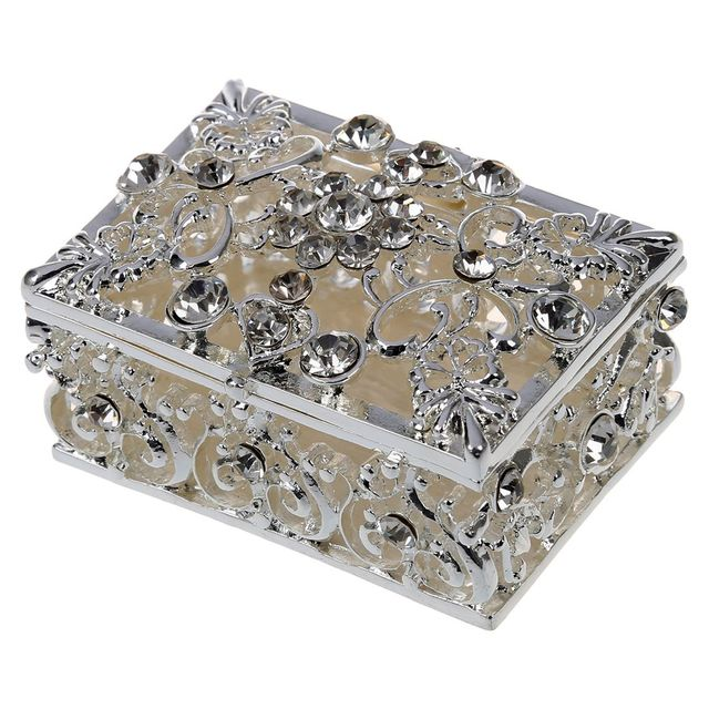 Amazing Small Rhinestone Jewelry Storage Embellished Hollow Gift Trinket Box Silver  Storage Boxes Decoration