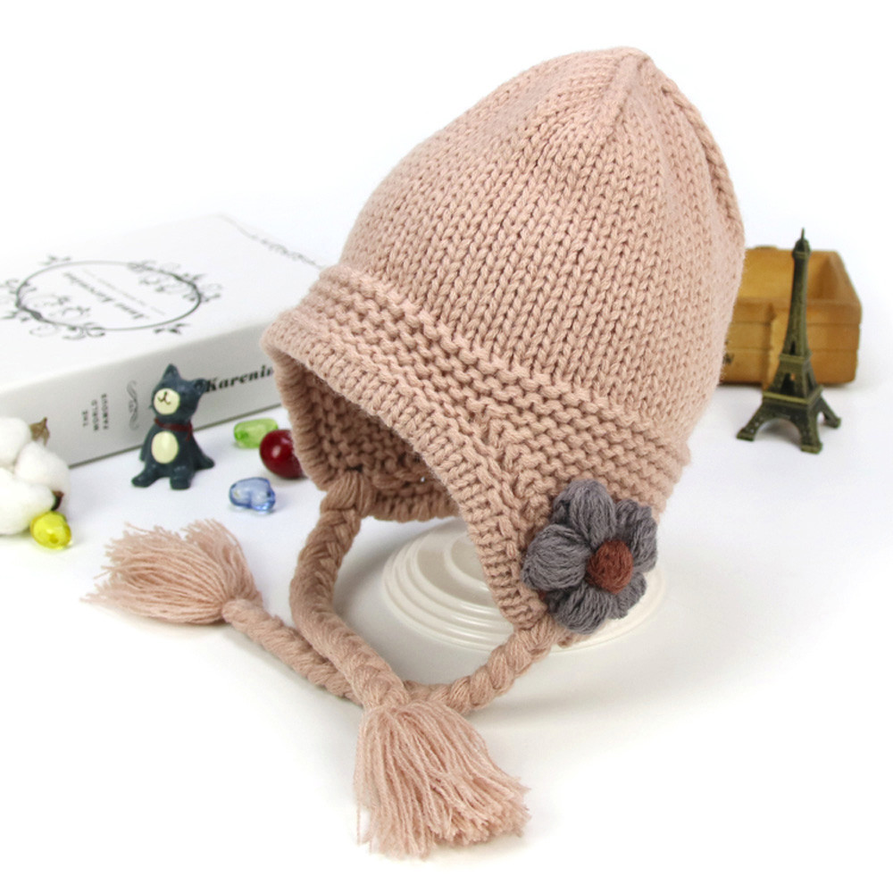 TELOTUNY baby hat for girls knitted beanie with pompom caps hats children bonnet 1T-3T u71214