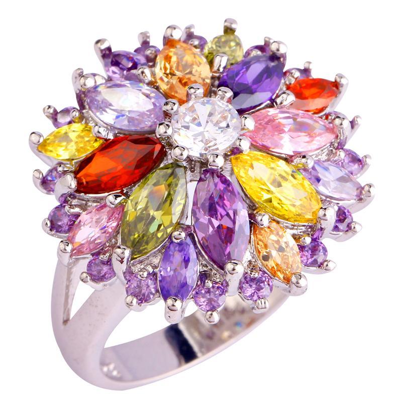 Free Shipping Wholesale Peridot Garnet Citrine Amethyst 925 Silver Ring Size 7 8 9 10 11 12 13 Jewelry Flower Design