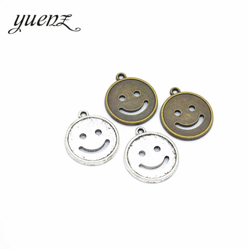 YuenZ 6pcs Smiley face Charms Antique Silver Bronze Plated Metal Pendant For Jewelry Making Necklace DIY Crafts 23*20mm I170
