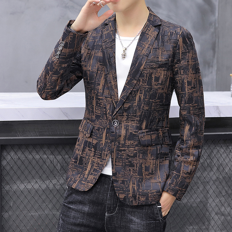 2019 New Men's Printed Suit Jacket Fashion Slim Male Casual Blazers Business Office Autumn Suit Blazer Plus Size 5XL