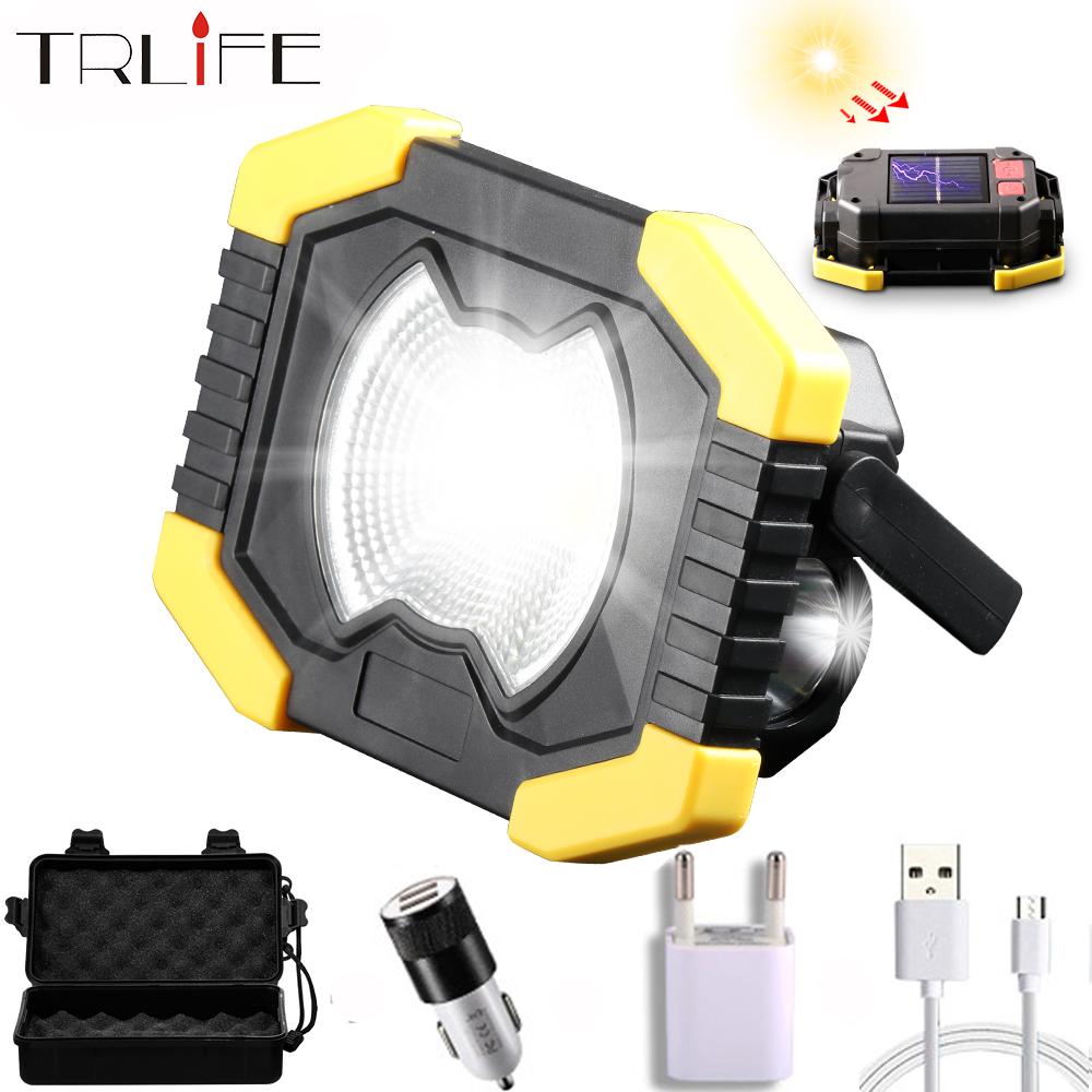 80W Led Solar Work Light Spotlight Floodlight Tent Lantern COB Rechargeable 18650 Or AA Battery Outdoor Lamp For Repair