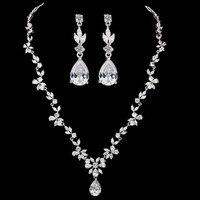 Luxury Fairy Flower With Pear Shaped Sparkling CZ Cubic Zirconia Drop Wedding Jewelry Set For Women