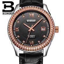 วิตเซอร์แลนด์นาฬิกาผู้ชายนาฬิกาข้อมือแบรนด์หรูBINGERเพชรวิศวกรรมนาฬิกาข้อมือสายหนังกันน้ำB1112B-6