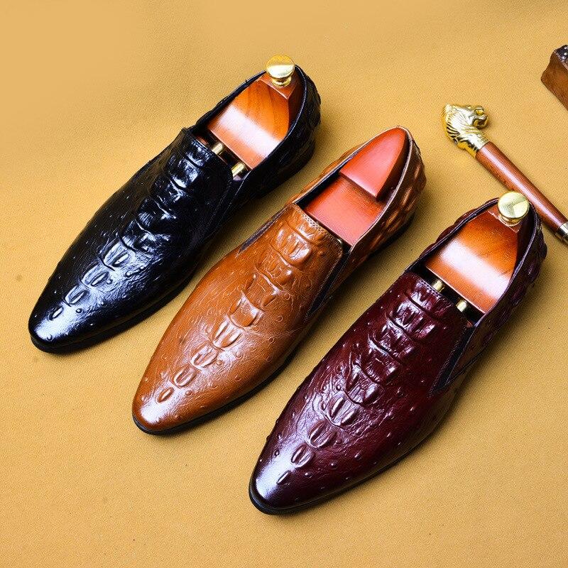 de couro genuíno vestido derby sapatos
