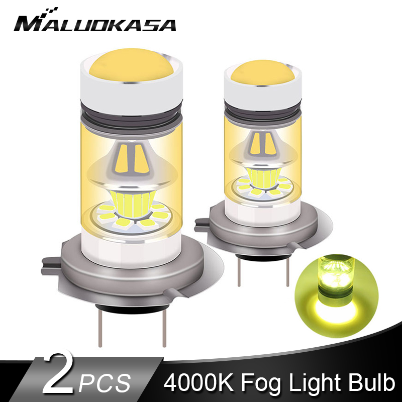 2PCS LED H7 H11 H1 Led Fog Light 2400LM 4000K Yellow Light HB4 HB3 H3 H8 Car Fog Lamp Signal Light Bulb 12V 24V Car Accessories