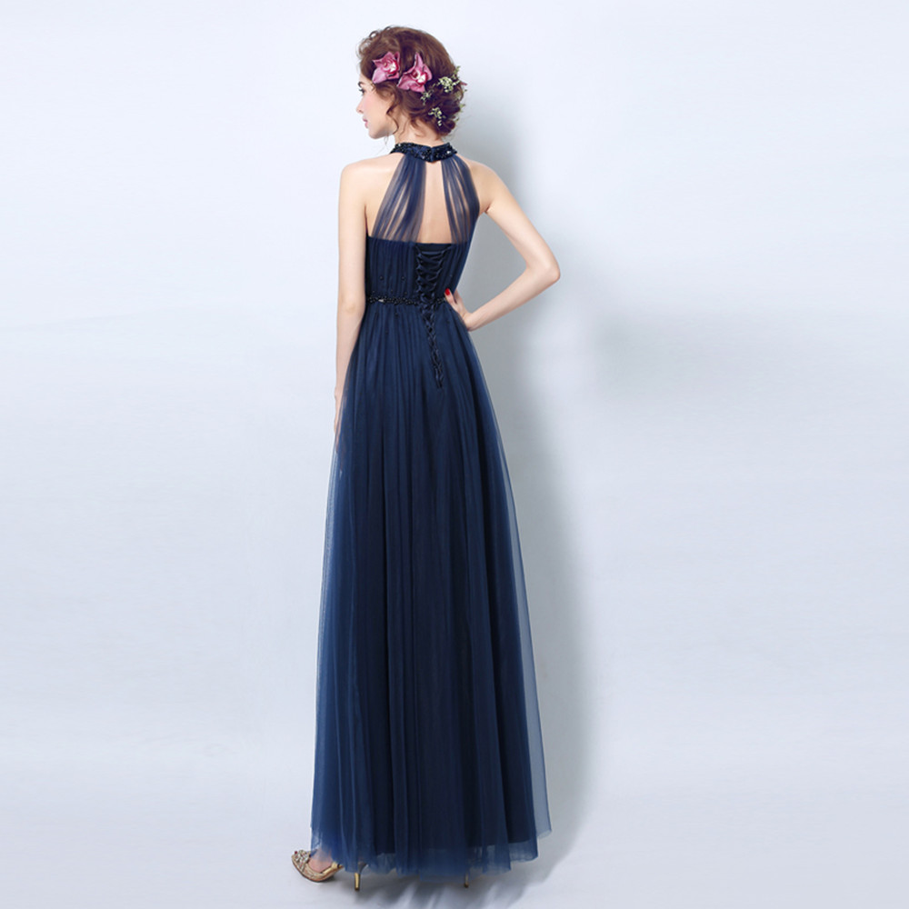 Navy Blue Crystals Jewel Halter Chiffon Navy Blue Prom Dresses 2017 on  Aliexpress.com  a166a3b8a269
