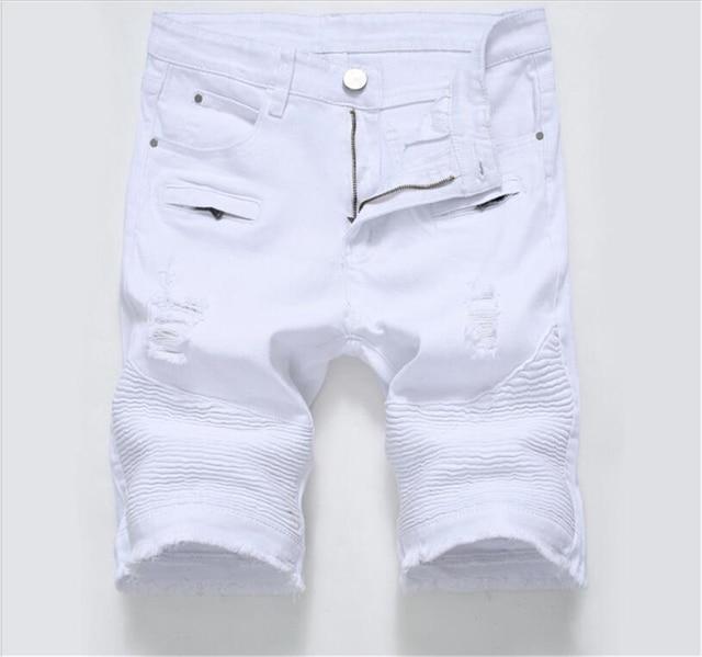 7d531b4a Summer Ripped Biker Jeans Shorts Men Bermuda White Black Denim Shorts for  Male Stretch Fashion Zipper Shorts Masculino