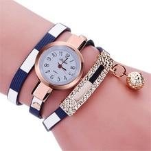 2016 Fashion Luxury Fashion rhinestone Design Bracelet Watch Women Faux Leather Strap Crystal Quartz Wrist Watch Free Shipping