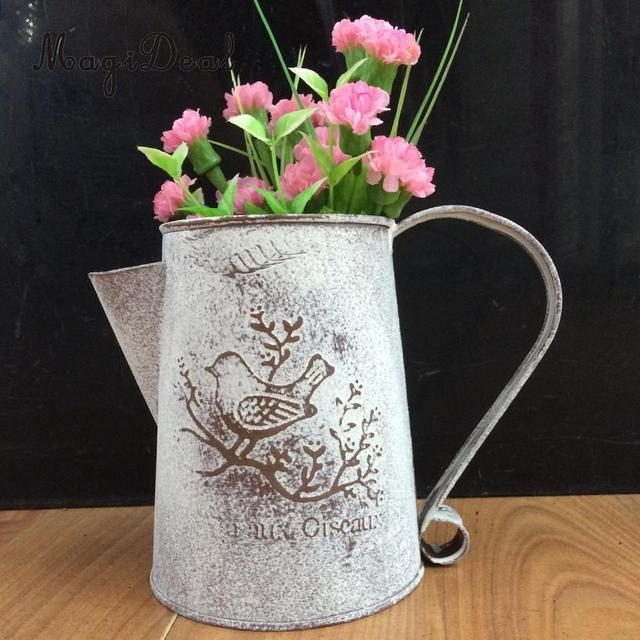 Magideal Vintage Shabby Flower Vase Pot Water Pitcher Metal Jug Vase