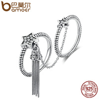 BAMOER New Arrival 925 Sterling Silver Star Tassel CZ Double Layer Finger Ring For Women Fashion